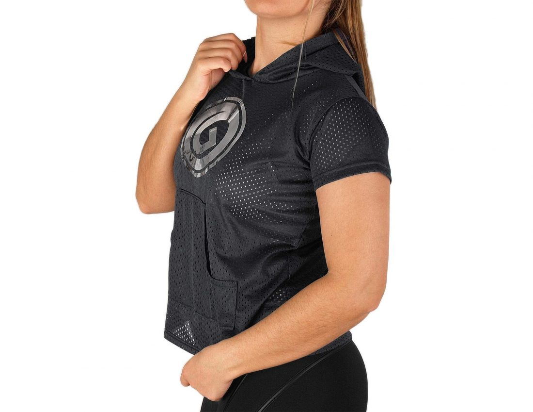 Túnica manga curta com capuz para mulher